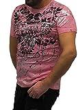 Cipo Baxx CT562 - Camiseta de Manga Corta para Hombre, diseño de Calavera, Color Rosa neón Rosa XL