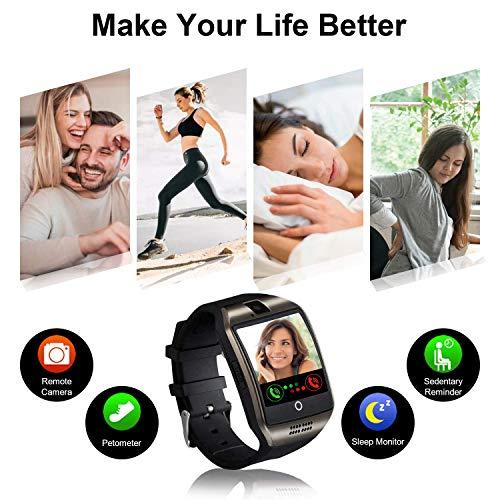 Smartwatch Fitness Armband Uhr mit Schrittzähler Touchscreen Kamera SIM-Karte Slot Fitness Tracker Fitnessuhr Smart Watch für Samsung Huawei Xiaomi LG Android Phones für Damen Herren Kinder (Schwarz)