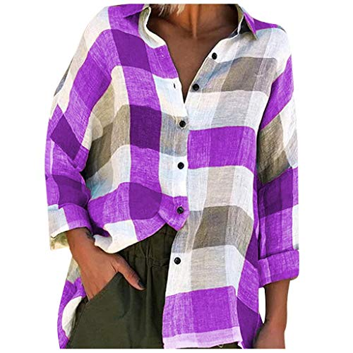 Xinantime Womens Loose Casual Plaid Tee Shirts Top Lapel V-Neck Print Blouse Top T-Shirts Comfy Button Down Long Sleeves (Purple,XX-Large)