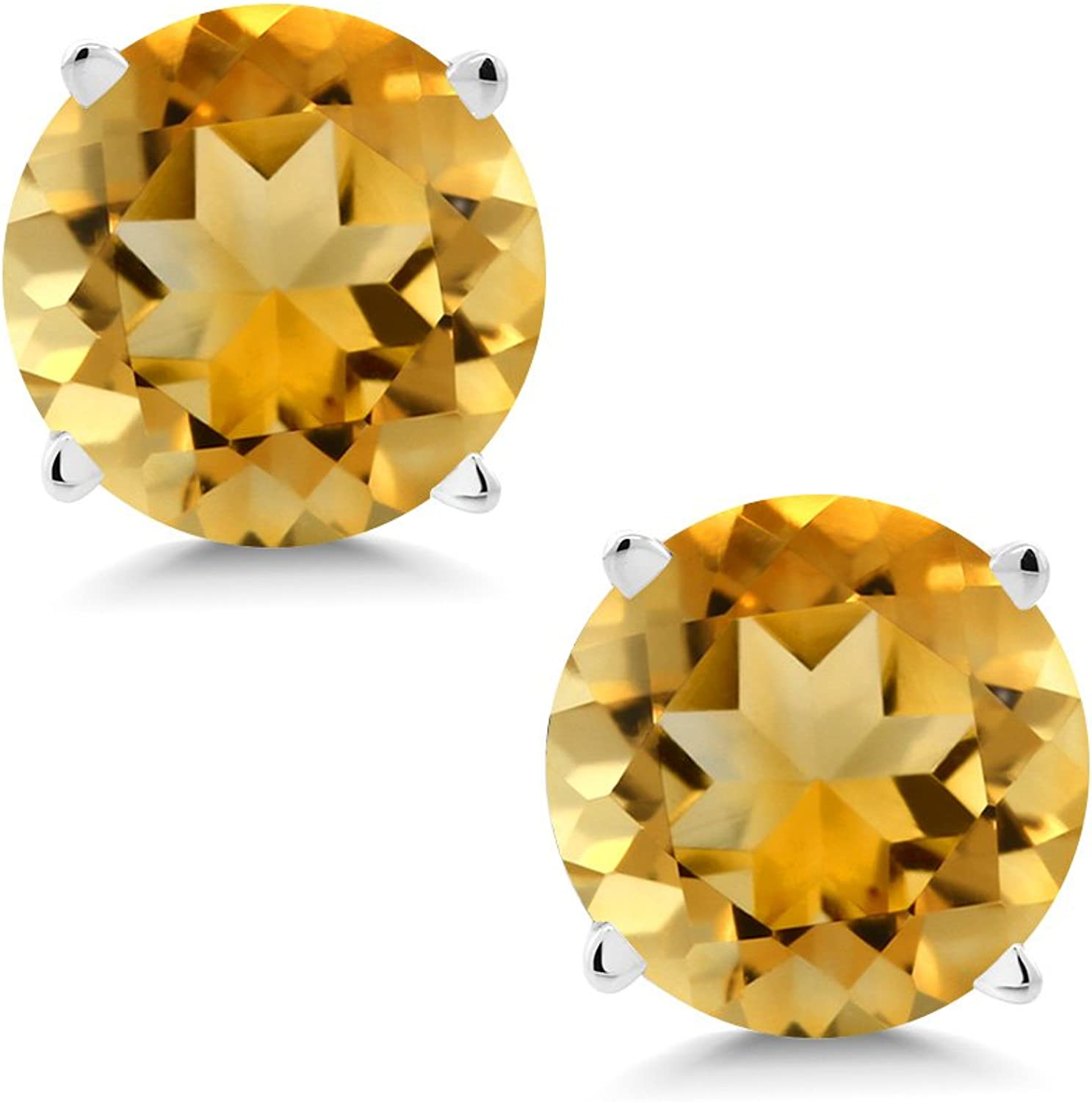 1.40 Ct Round 6mm Yellow Citrine 14K White gold Stud Earrings