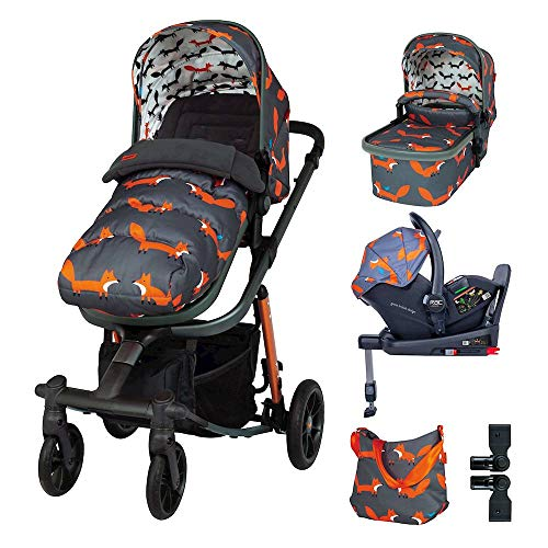 Cosatto Giggle Quad Pram Pushchair Everything Travel System – From Birth to 20kg, RAC Port i-Size Car Seat, Adaptors, ISOFIX Base, Footmuff & Bag (Charcoal Mister Fox)