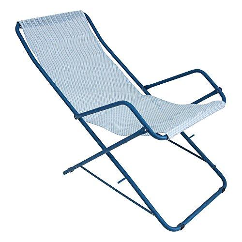 Bahama Liegestuhl, hellbau blau Sitzfläche EMU-Tex hellblau BxHxT 58x95x108cm Gestell Stahl blau