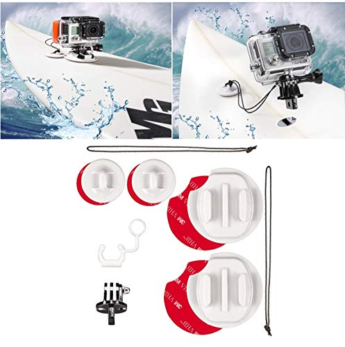 micros2u Kit de Montaje para surfing compatible GoPro Hero 8, 7, 6, 5, 4, 3 y Session. Incluye cordel de seguridad y enganche FCS