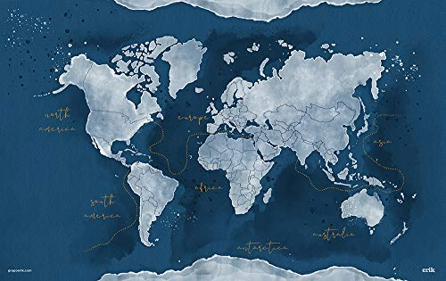 Grupo Erik - Vade escolar Mapa del Mundo Acuarela (49,5x34,5 cm)