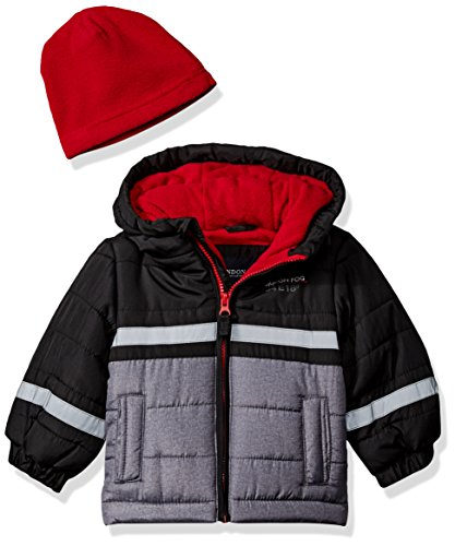 LONDON FOG Baby Boys Color Blocked Puffer Jacket Coat with Matching Hat, Real Black, 12M
