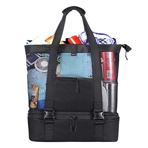 Strandtasche Badetasche Einkaufstasche XXL mit Wasserdichter Kühlfach 51 x 41 x 18 cm, 35 L Kapazität ÜbergroßeTaschen Mesh Reißverschluss Schultertasche Strandtasche für Strand Urlaub Reise Picknick