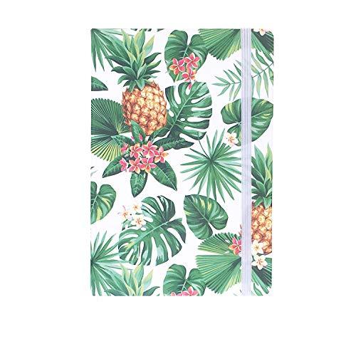 A5ゴムバンドハードカバーエグゼクティブノート罫線入りストラップノート, Tropical Plants 2,Pineapple & Frangipani