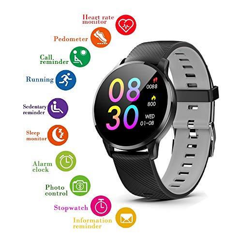 Indigi® espacio gris muñeca reloj inteligente Bluetooth 4.0Siri 3.0Heart Rate Monitor Podómetro