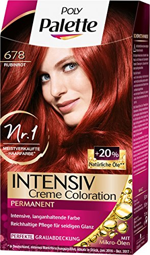 Poly Palette Intensiv Creme Coloration, 678 Rubinrot Stufe 3, 3er Pack (3 x 115 ml)