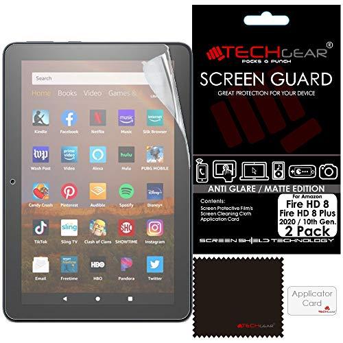 TECHGEAR 2 Stück alle neumodischen Fire HD 8 Zoll/HD 8 Zoll Plus blendfreie Bildschirmschutzfolien, Matte Bildschirmschutzfolie für Amazon Fire HD 8 Zoll/HD 8 Plus Tablets (2020/10. Generation)