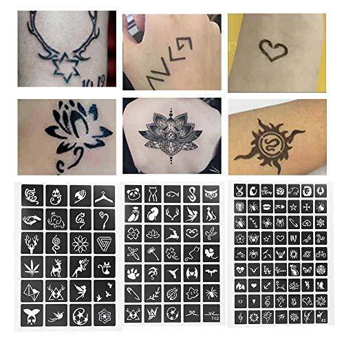 Set von Tätowierungen, Tattoo Vorlage Album Body Art, semi permanente temporäre Modelle von Luftballons mit Schablone für Tätowierungen