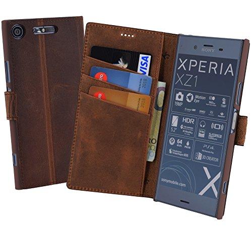 Suncase Book-Style (Slim-Fit) kompatibel mit Sony Xperia XZ1 Ledertasche Leder Tasche Handytasche Schutzhülle Hülle Hülle (mit Standfunktion & Kartenfach) antik Coffee