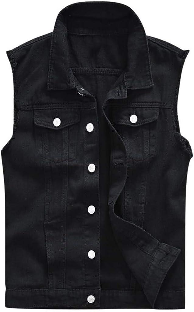 MODOQO Men's Jacket Vest Jeans Sleeveless Slim Fit Lapel Black Lightweight Denim Outwear