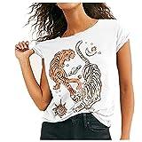Camiseta Divertida para Mujer, Camiseta De Verano, Camisetas De Manga Corta, Camiseta Informal con Cuello Redondo, Blusa para Mujer Adolescente NiñAs(Blanco,L)