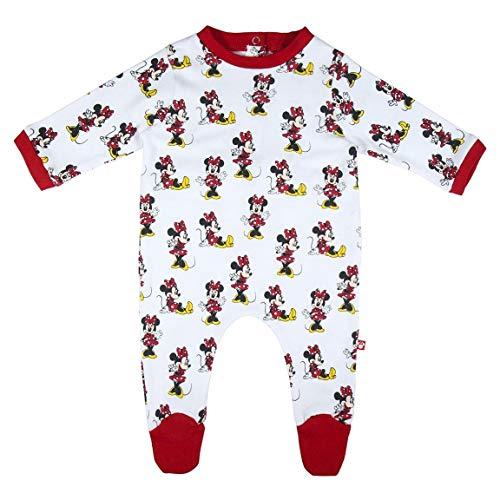CERDÁ LIFE'S LITTLE MOMENTS 2200006142_T06M-C50 Pelele Algodón Bebé de Minnie - Licencia Oficial Disney, Blanco, 6 Meses para Bebés