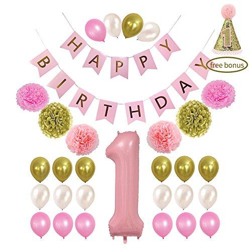 Litaus 1st Birthday Decorations, Happy Birthday Banner, 1st Baby Girl Number 1 Balloon, Pom Poms, Birthday Hat for 1st Birthday Girl Outfit, Girls Birthday