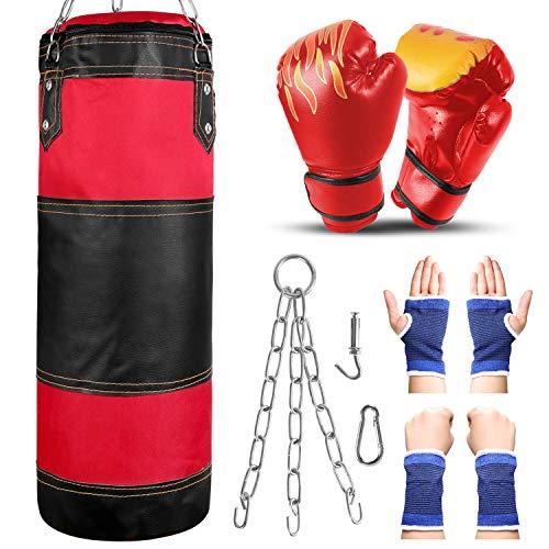 Odoland Saco de Boxeo Set 7-In-1 para Niños Sin Relleno, 2 pies/60 cm Saco de Boxeo Pesado con Guantes de Boxeo de 6 oz y Mangas Protectoras para Manos Cadenas para Colgar y Gancho, Rojo
