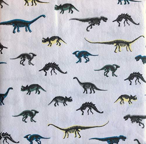 Moon and Stars 3-teiliges Bettwäsche-Set aus Baumwollflanell für Doppelbett, Einzelbett, Dinosaurier-Silhouetten, Schwarz auf Weiß mit bunten Schattierungen