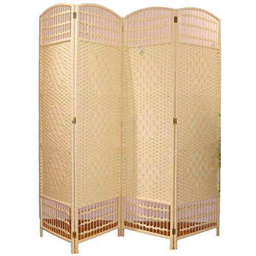 Biombo Ratán Separador de Ambientes 4 Paneles 200x180 cm (Largo x Alto) Color Crema. Incluye 1 Unidad