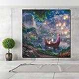 KWzEQ Deseando la lámpara en el río Imprimir Lienzo Pintura Sala de Estar decoración del hogar Pintura al óleo Moderna Pared Arte Cartel,Pintura sin Marco,60x60cm