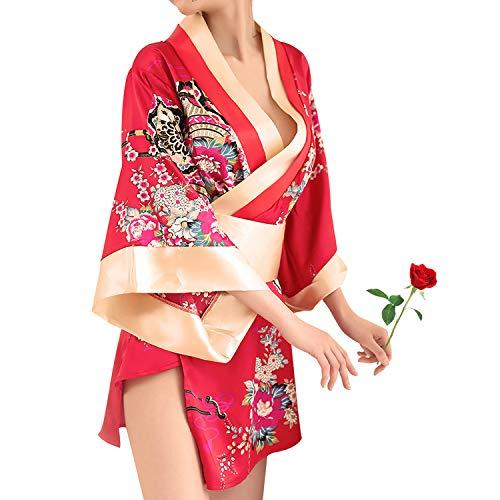 Women's Traditional Japanese Kimono Style Robe Yukata Costumes Pajamas Red