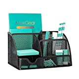 MaxGear Mesh Desk Organizer Office Desktop Organizer with Drawer, Metal Stationary Organizer Black Desk Caddy,...