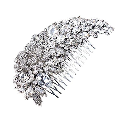 ROSENICE Haarkamm Brautschmuck Kristall Blume Haarnadel Strass Haarspange (Silber)