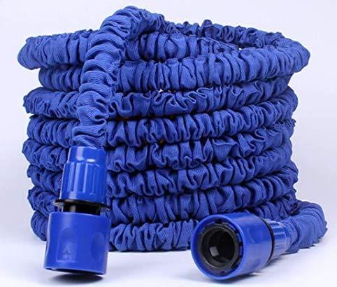 FRGHF Flexible Manguera de jardín, 30M/100FT Manguera Estirable Manguera de Agua Tubo Riego con la Presión, Manguera con 8 Funciones Pistola Pulverizadora para riego de jardín, Lavado de Autos, Azul