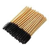 300 Pack Mascara Wands Disposable Eyelash Brushes for Lash Extensions Eye Brow Applicators Makeup Brush Tool, Gold/Black
