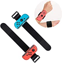 2 Pack Wrist Bands Compatible with Nintendo Switch Joy-Cons Controller, Adjustable Strap for Just Dance Game 2019 Blue and...