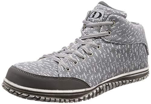 [ジーデージャパン] 安全靴 ・ 作業靴 GD-360 ニットで柔らかいミドルカットスニーカー 履き口スポンジ入り グレー 24.5 cm 3E