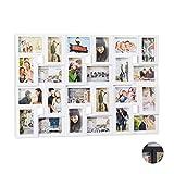 Relaxdays XXL Bilderrahmen Collagen, für 24 Bilder in 9 x 13, Hoch-oder Querformat, Kunststoff, HxB 57 x 86 cm, weiß