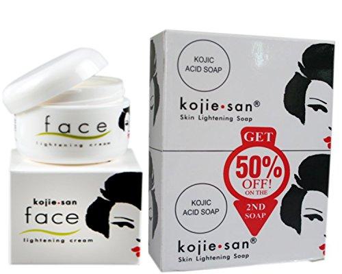 Kojie San Value Pack: Kojie San Original Skin Lightening Soap (135g, 2 Pack) and Kojie San Original Whitening Face Cream (30g)
