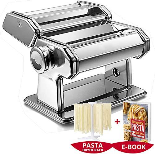 ImnBest Nudelmaschine Manuell, Pastamaschine aus Edelstahl, manuelle Nudelmaschine mit 2 verschiedenen Nudelwalzen, GIFT 1xPastatrockner Rack 1xRezepte Pastaglück E-BOOK