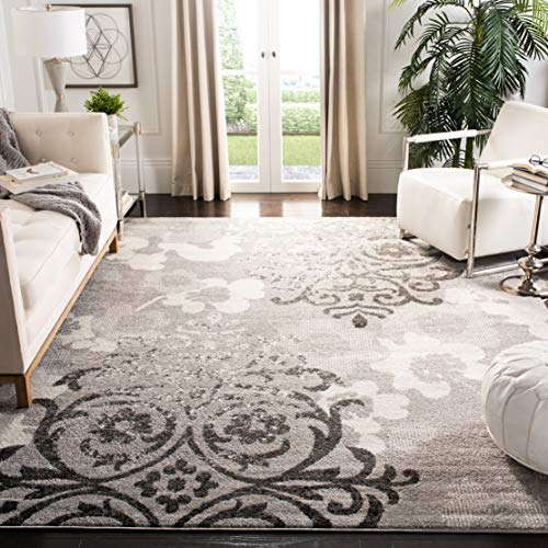 Safavieh Adirondack Collection ADR114B Silver and Ivory Contemporary Chic Damask Area Rug (8