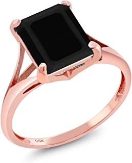 3.13 Ct Emerald Cut Black Onyx 14K Rose Gold Women's Ring (Available 5,6,7,8,9)
