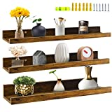 Giftgarden 24 Inch Floating Shelves Wall Mounted Set of 3, Rustic Large Wall Shelves Picture Ledge Shelf for Bedroom Living Room Bathroom Kitchen, 3 Different Sizes