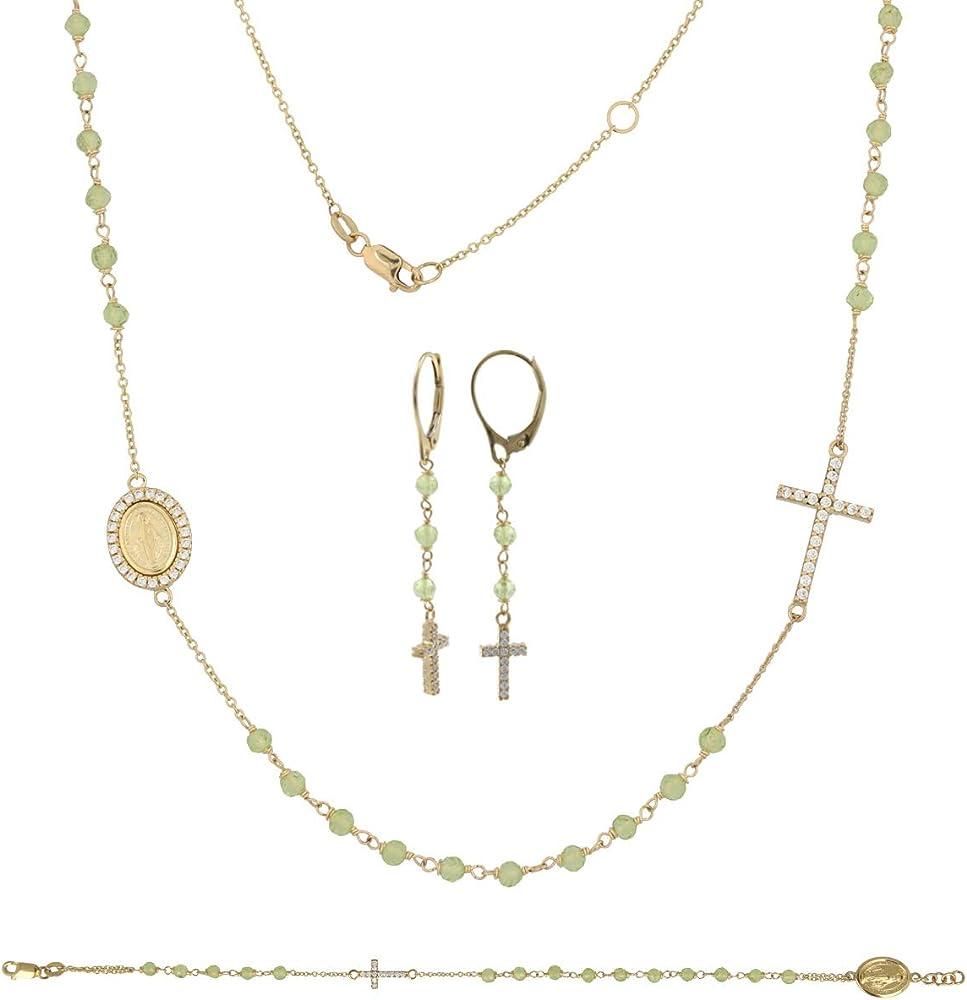 Gioiello italiano, bracciale, collana e orecchini, da donna in oro giallo14k(11,2 g con zirconi e pietre verdi ver-ros-gia-par