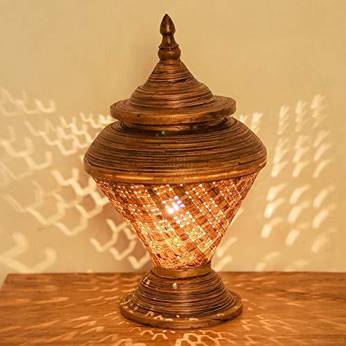 Zenghh Escritorio de la Tabla de la lámpara pasada de Moda en Forma de Concha de mar Noche de iluminación E27 Madera marrón Mimbre Pantalla Vibe Montaje Base de Apoyo de Jaula de Ardilla espi