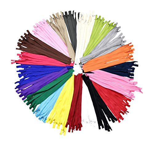 Nylon Invisible Zipper for Sewing, 6 Inch Bulk Hidden Zipper Supplies in 20 Assorted Colors; by Mandala Crafts