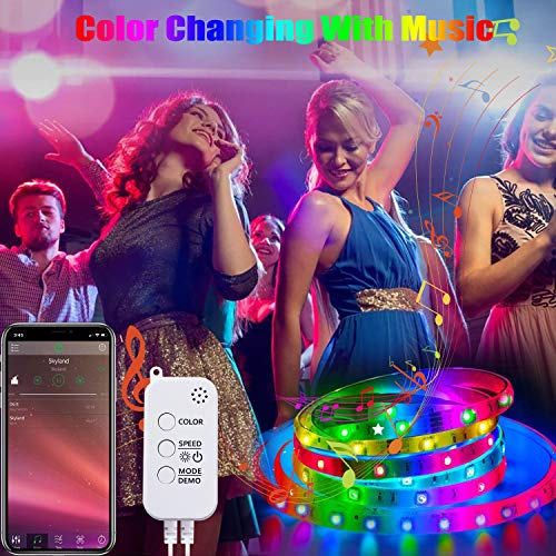 50ft Led Strip Lights, Tenmiro Smart Led Lights Strip Music Sync Color Changing Lights App Control and 23keys Remote, Led Lights for Bedroom Party Home Decoration 5