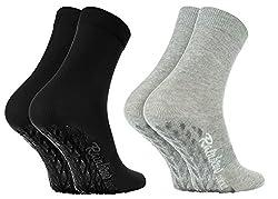 Rainbow Socks - Damen Herren Bunte Baumwolle Antirutsch Socken ABS - 2 Paar - Grau Schwarz - Größen EU 39-41