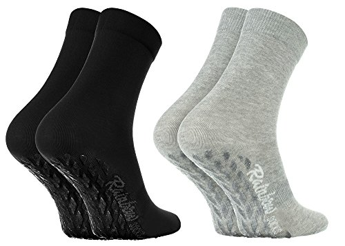Rainbow Socks - Damen Herren Bunte Baumwolle Antirutsch Socken ABS - 2 Paar - Grau Schwarz - Größen 44-46