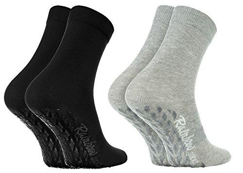 Rainbow Socks - Damen Herren Bunte Baumwolle Antirutsch Socken ABS - 2 Paar - Grau Schwarz - Größen 36-38