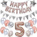 Ouceanwin 5 Cumpleaños Decoración Oro Rosa, Gigante Globos Numeros 5, Bandera de Globos Happy Birthday, Globos de Confeti, Banderín Plateado, 5 años Fiesta de Cumpleaños Kit para Niñas
