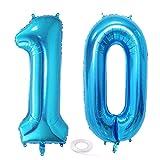 SNOWZAN Globo de 10º cumpleaños, decoración azul niño, número 10, globo gigante de helio número 10, globos con números grandes 10 años, XXL, 10 cumpleaños, para fiesta