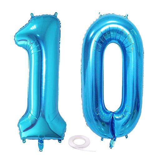 SNOWZAN Globo de 10º cumpleaños, decoración azul niño, número 10, globo gigante de helio número 10, globos con números grandes 10 años, XXL, 10 cumpleaños, para...