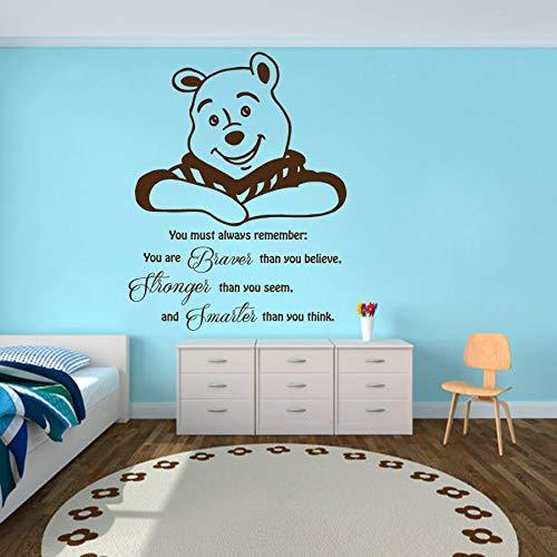 nkfrjz Etiqueta de la Pared de Dibujos Animados Cita Winnie The Pooh Vinyl Sticker Nursery Mural Home Decor Niños Niñas niños Mural DIY Decoración 57x75 cm