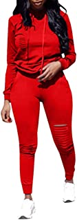 Women Casual Long Sleeve Hoodies Ripped Top Skinny Long Pants Set Tracksuits 2 Piece Jumpsuits Outfits