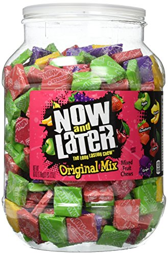 Now and Later Original Chews Candy, Assorted, 90 Ounce Jar, 150 Count (01763)